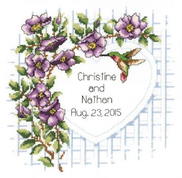 Garden Trellis Wedding Announcement Cross Stitch Kit from Janlynn